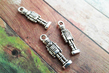 Load image into Gallery viewer, Nutcracker Charms Nutcracker Pendants Silver Nutcracker Charm Christmas Charms Silver Charms Themed Charms 10 pieces
