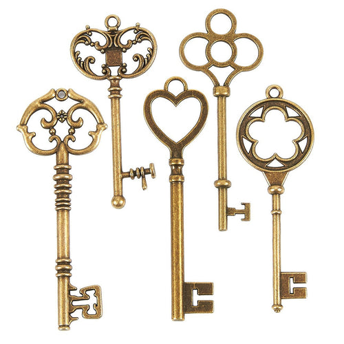 Big Skeleton Keys Key Pendants Antiqued Bronze Keys BULK Skeleton Keys Wholesale Keys Large Key Pendants Wholesale Pendants 48pcs 2 to 3