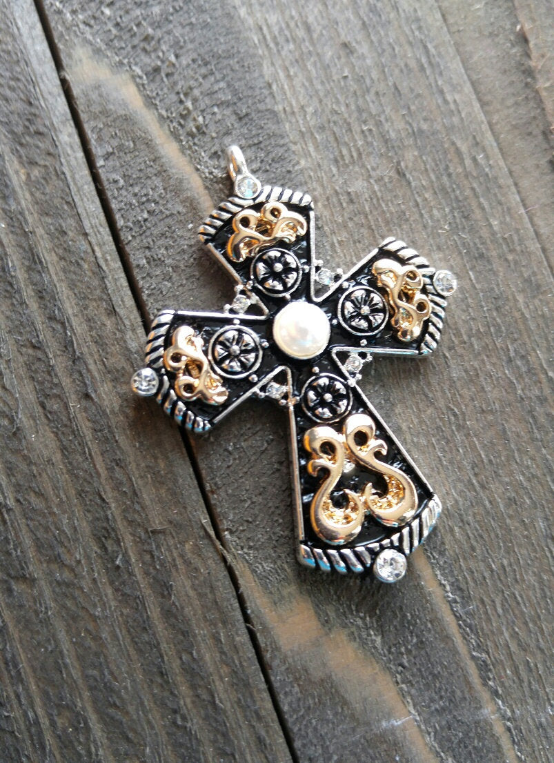 Large Cross Pendant Antiqued Silver Gold Cross Charm Turquoise Charm Vintage Style Focal Pendant Religious Charm 2 1/8