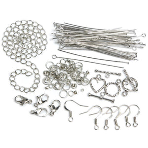 Jewelry Findings Starter Kit Head Pins Eye Pins Earring Wires Lobster Clasps Toggle Clasps Crimp Beads Chain Antiqued Silver 134pcs