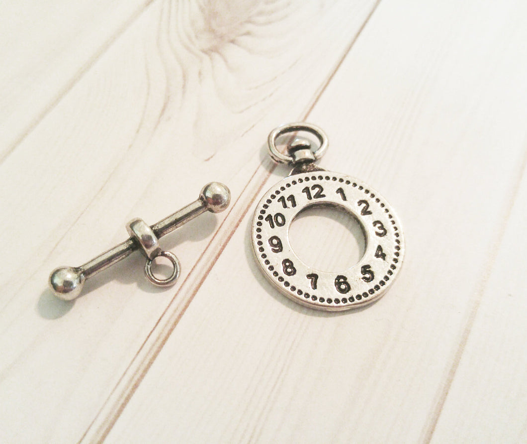 Clock Clasp Toggle Clasp Antiqued Silver Clasp Set T Clasp Steampunk Findings Unique Clasp Pocket Watch Charm