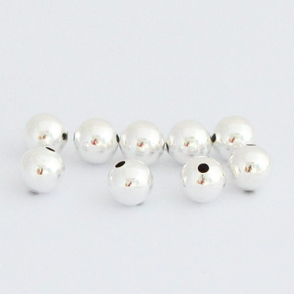 Silver Beads Sterling Silver Plated Beads 8mm Beads 10mm Beads Round Beads Sterling Plated Beads 8mm Silver Beads 10mm Beads Wholesale 50pcs