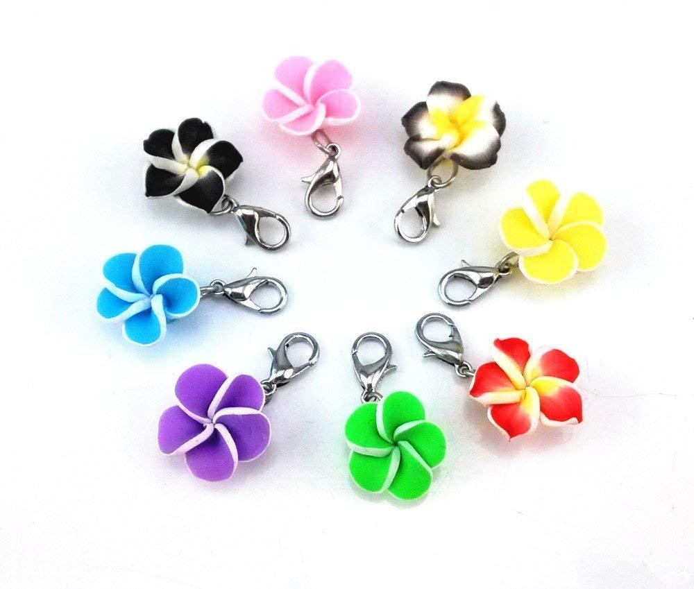 Clip On Charms Polymer Clay Flower Charms Floral Charms Assorted Charms Flower Pendants Charms with Clasps 20pcs