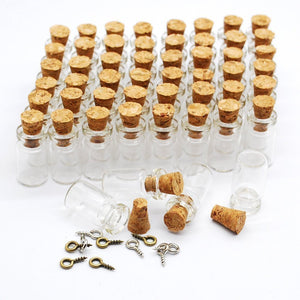 Glass Vial Pendants Kit Small Glass Bottles Apothecary Bottles Tiny Glass Tiny Bottles Vials with Corks Corked Vials Eye Screws 100pcs Set