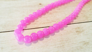 Pink Beads 8mm Glass Beads 8mm Beads Crackle Beads Bright Pink Jelly Beads Wholesale Beads BULK Beads Double Strand 106 pieces