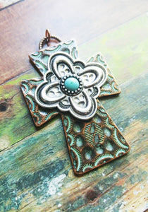 "Large Cross Pendant Antiqued Copper Silver Cross Charm Turquoise Charm Vintage Style Focal Pendant Religious Charm Hammered Cross 2 7/16"" PR"