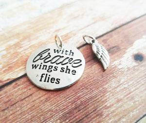 Quote Charms Set Antiqued Silver Word Charm Wing Charm Angel Wing Charm Word Pendant With Brave Wings She Flies Charm with Rings