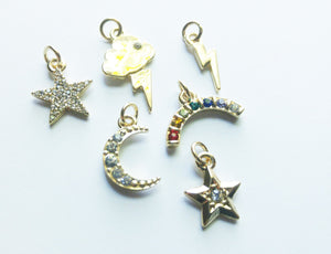 Weather Charms Sky Charms Set Gold Charms Rainbow Charm Cloud Charm Lightning Charm Star Charm Rhinestone Charms With Rings