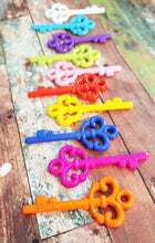 Load image into Gallery viewer, Plastic Key Charms Key Pendants Assorted Keys Skeleton Keys Rainbow Keys Rainbow Charms Assorted Charms Mixed Charms Key Lot 10 pieces 57mm