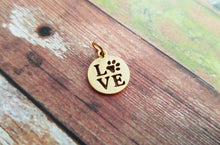 Load image into Gallery viewer, Love Charm Gold Charm Stainless Steel Pet Owner Charm Dog Mom Charm I Love My Dog Charm Dog Pendant Love Pendant Charm with Jump Ring