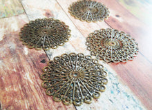 Load image into Gallery viewer, Large Pendants Antiqued Bronze Blanks Filigree Blanks Filigree Pendants Settings Blank Filigree Charms Circle Charms 43mm 10pcs