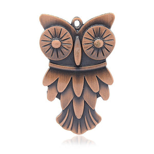 Large Owl Pendant Antiqued Copper Pendant Focal Pendant Focal Piece Big Owl Charm Bird Pendant 70mm