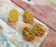 Load image into Gallery viewer, Druzy Cabochons Drusy Cabochons Gold Druzy Resin Druzy Gold Cabochons 18x13 Resin Oval Flatbacks Druzy Flatbacks 4 pieces