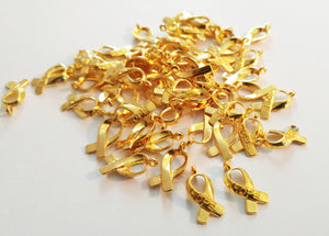 Awareness Charms Shiny Gold Awareness Ribbon Charms Pendants HOPE Word Charms Fundraising Charms Cancer Awareness 100 pieces Wholesale