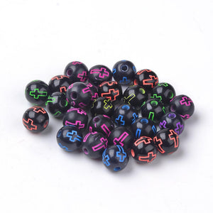 Cross Beads 8mm Acrylic Beads 8mm Beads Black Neon Beads Black Beads 8mm Black Beads Christian Cross 20 pieces