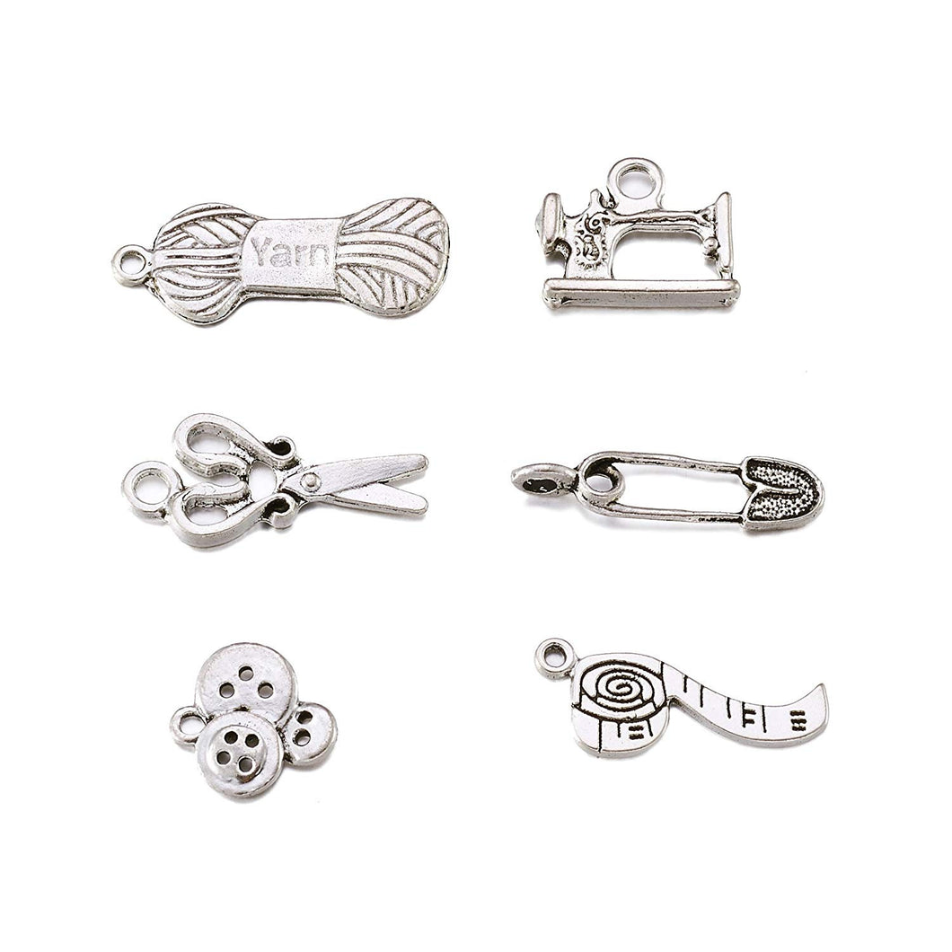 Sewing Charms Antiqued Silver Assorted Charms Set Seamstress Charms Themed Charms Lot BULK Charms Assorted Pendants 30pcs