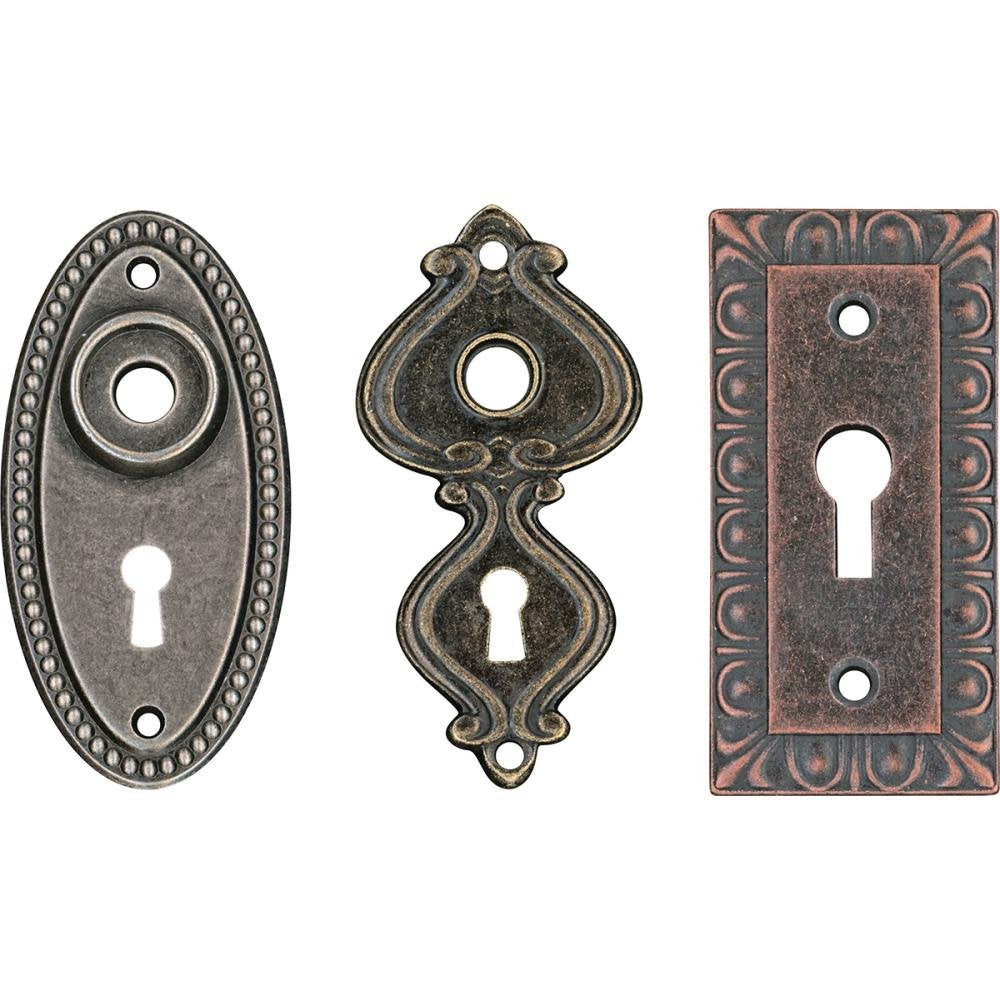 Keyholes Connectors Key Holes Skeleton Keyhole Steampunk Keyhole Pendants Lock Charms Escutcheon Assorted Pendants Antiqued Bronze Large 3pc