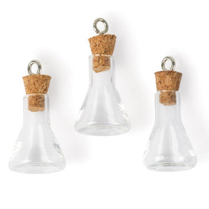 Glass Vial Pendants Small Glass Bottles Flask Bottles Tiny Glass Vials with Corks Corked Vials Scientist Charms 3pcs