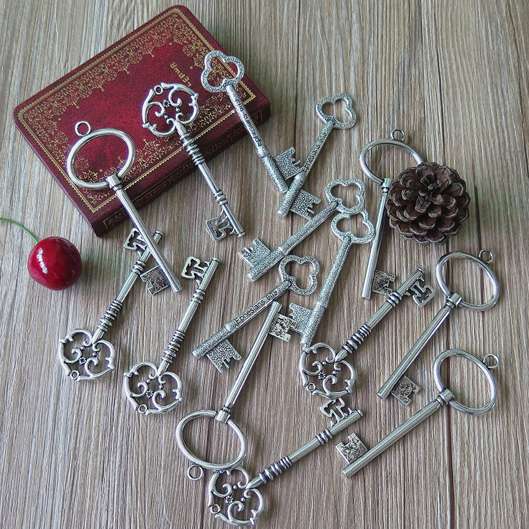Bulk Skeleton Keys Key Pendants Steampunk Keys Mixed Metal Keys Assorted Keys Silver Big Keys Religious Pendants Bible Verse 15pcs 3