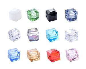 Cube Beads Square Glass Beads 8mm Glass Beads 8mm Beads Assorted Glass Beads Spacer Beads BULK Beads 240pcs Assorted Lot