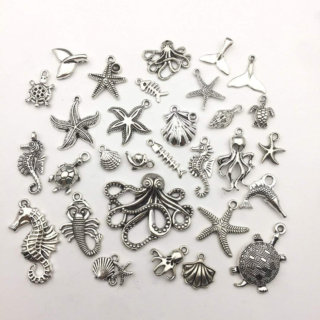 Ocean Charms Antiqued Silver Charms Nautical Charms Sea Animal Charms Ocean Pendants Assorted Charms Set 55pcs BULK