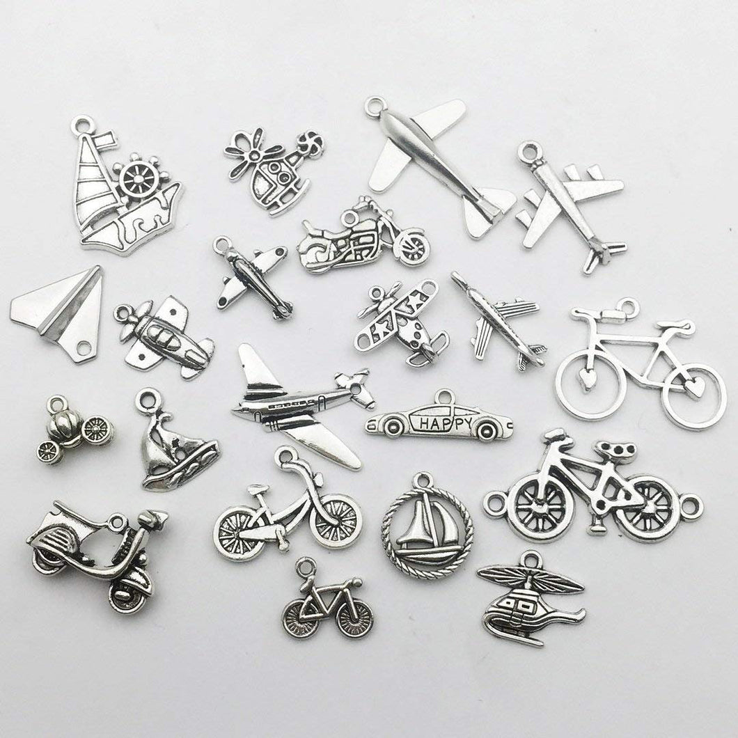 Travel Charms Travel Pendants Transportation Charms Set Themed Charms Travel Themed Charms Antiqued Silver Charms Lot BULK 60 pieces