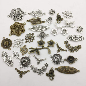 Flower Connector Charms Antiqued Silver Bronze Flower Links Silver Flower Charms Assorted Charms Flower Pendants BULK 45pcs