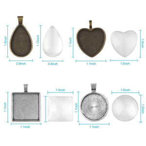 Frame Pendants Frame Charms Cabochon Settings with Glass Cabochons Domed Glass DIY Pendants Kit Photo Frame Charms Bronze Silver BULK 40pcs