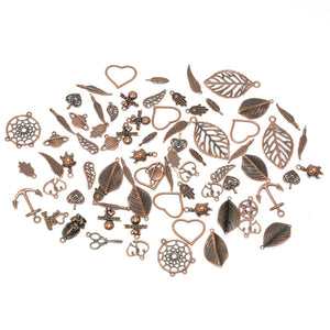 Copper Charms Set Assorted Charms Copper Pendants Jewelry Making Supplies BULK Charms Wholesale Charms Copper Findings 70pcs