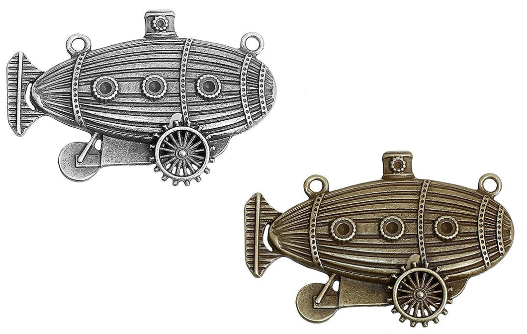 Submarine Charms Blimp Charms Steampunk Charms Steampunk Blimps Silver Bronze Charms Bronze Pendants Connector Pendants 4pcs