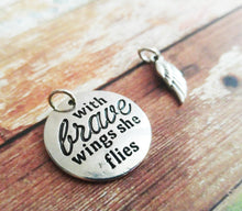 Load image into Gallery viewer, Quote Charms Set Antiqued Silver Word Charm Wing Charm Angel Wing Charm Word Pendant With Brave Wings She Flies Charm with Rings