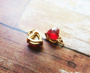 Rhinestone Heart Charms Gold Heart Pendants Crystal Heart Charms with Jump Rings Red Rhinestone Hearts 2pcs
