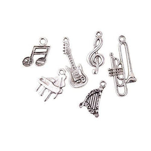 Music Charms Music Pendants Instrument Charms Band Charms Guitar Charm Antiqued Silver Charms Set Themed Charms Trombone Charm Harp Charm 30