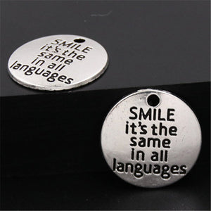Quote Pendants Antiqued Silver Quote Charms Word Charms Smile Charms Quote Charms Circle Charms Smile Quote Charms 20pcs 20mm
