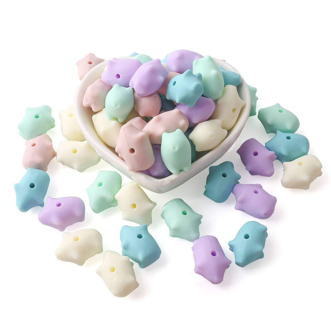 Pig Beads Silicone Beads Pastel Pig Beads Pastel Rubber Beads Assorted Beads BULK Beads BPA Free Beads 18mm Beads Large Beads 50pcs