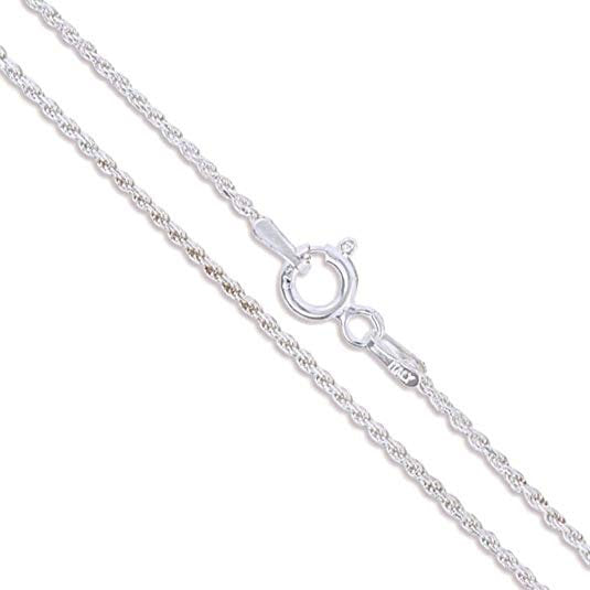 Sterling Silver Chain Silver Rope Chain Diamond Cut Chain Pure 925 Silver Chain Necklace Chain Silver Necklace 16