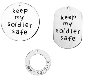 Soldier Quote Charms Quote Pendants Stainless Steel Charms Dog Tag Pendant I Love My Soldier Assorted Charms Set Steel Pendants Steel Tags
