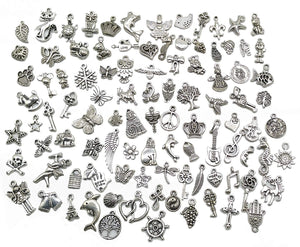 Bulk Charms Pendants Antiqued Silver Assorted Charms Pendants Grab Bag Large Lot Wholesale Charms Mixed Charms Set 100pcs
