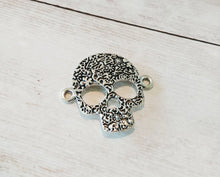 Load image into Gallery viewer, Skull Pendant Connector Antiqued Silver Skull Pendant Sugar Skull Charm Calavera Pendant Skull Link Pendant