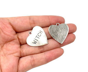 Witch Charms Witch Heart Charms Witch Word Charms Antiqued Silver Heart Charms Silver Word Charms Halloween Charms 10pcs
