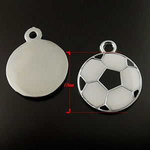 Soccer Ball Charms Silver Enamel Charms Soccer Charms Sports Charms BULK Charms 19mm 20pcs