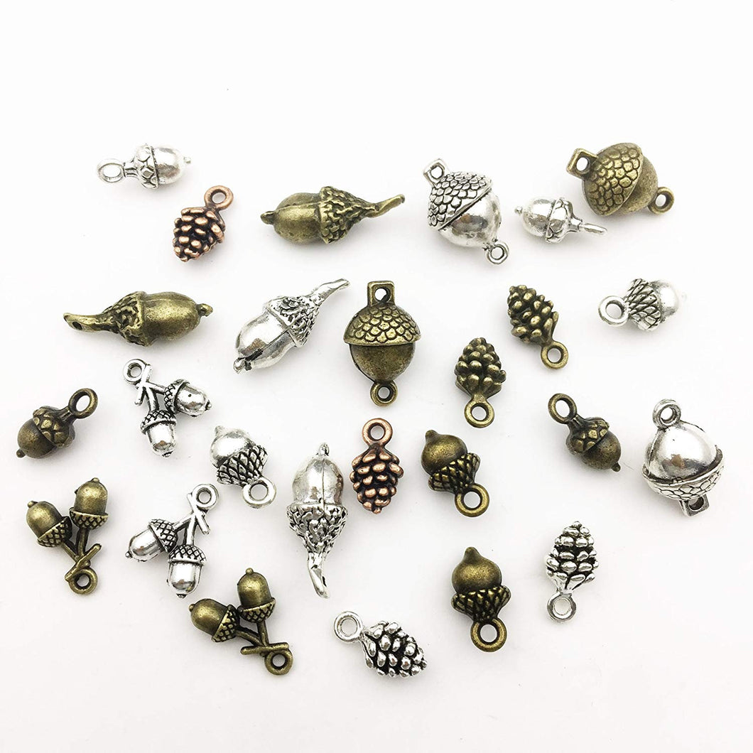 Acorn Charms Pinecone Pendants Antiqued Silver Bronze Mixed Set Nature Themed Bulk Sold per pkg of 72