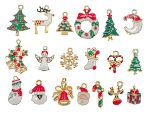Christmas Charms Set Enamel Charms Assorted Charms Gold Enamel Charms Mixed Charms BULK Charms Wholesale Charms Themed Charms 19pcs