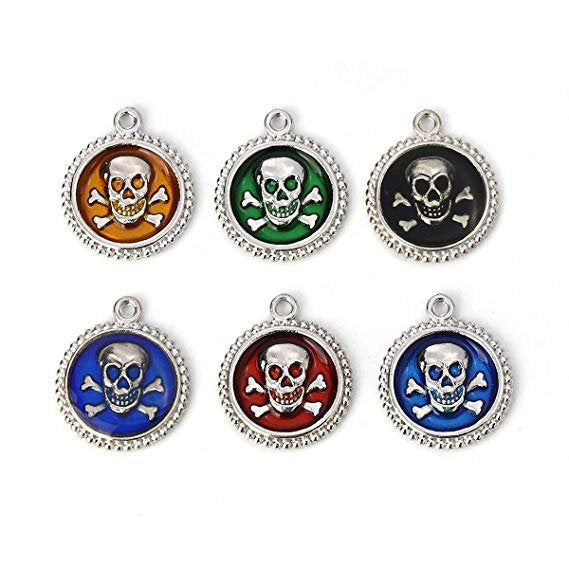 Enamel Skull Charms Skull and Crossbones Charms Antiqued Silver Enamel Charms Assorted Charms Set Pirate Charms Halloween Charms Poison 6pcs