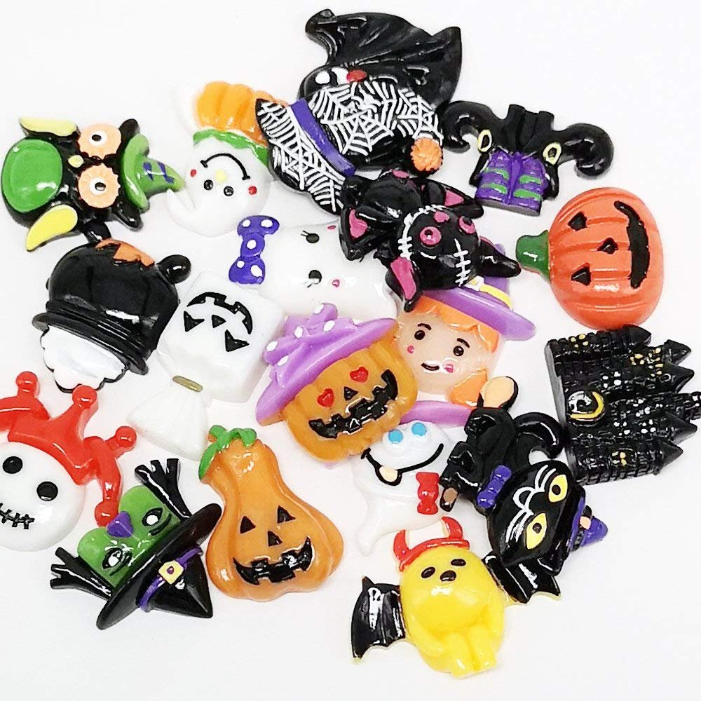 Halloween Cabochons Resin Cabochons Halloween Flatbacks Flat Back Cabochons Halloween Findings Flat Backs Assorted Cabochons Set 20pcs