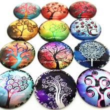 Load image into Gallery viewer, Tree Photo Glass Cabochons Domed Glass Flatbacks Tree Cabochons Tree of Life Flat Backs 25mm Glass Cabochons Round Glass Cabochon 12pcs