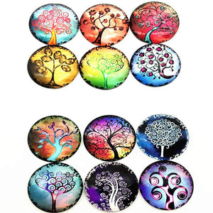 Tree Photo Glass Cabochons Domed Glass Flatbacks Tree Cabochons Tree of Life Flat Backs 25mm Glass Cabochons Round Glass Cabochon 12pcs