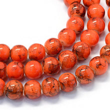 Load image into Gallery viewer, Glass Beads Orange Glass Beads Halloween Beads 7mm Beads 7mm Glass Beads BULK Beads Large Lot Orange Black Beads Marble Beads 105 pieces