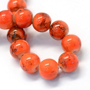 Glass Beads Orange Glass Beads Halloween Beads 7mm Beads 7mm Glass Beads BULK Beads Large Lot Orange Black Beads Marble Beads 105 pieces
