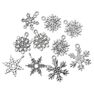 Snowflake Charms Snowflake Pendants Antiqued Silver Winter Charms Silver Snowflake Charms Christmas Charms BULK Charms Wholesale Charms 50pc